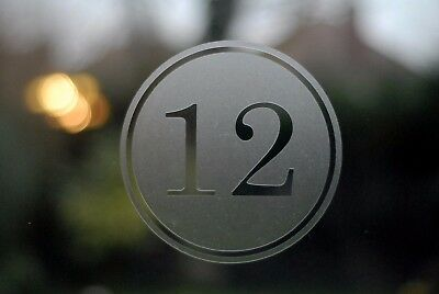 various sizes Modern rectangle border house number sticker Etched glass style