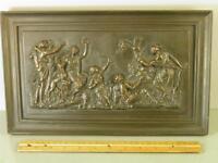 ANTIQUE BRONZE CLAD CLASSICAL FIGURAL WOMEN HUNTING SCENE WALL PLAQUE 14''