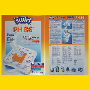 2 pakete swirl ph 86 micropor staubsaugerbeutel ph86 8 staubbeutel ebay. Black Bedroom Furniture Sets. Home Design Ideas