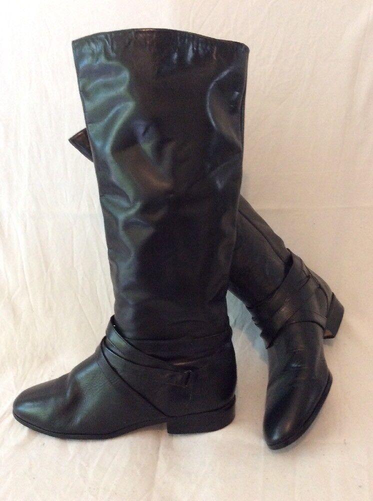 Jennifer Moore Noir Hautes Bottes en cuir taille 7