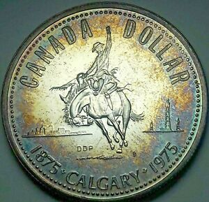 1975-CANADA-1-ONE-SILVER-DOLLAR-PROOF-COLOR-CHOICE-BU-TONED-UNC-DEEP-BLUE-DR