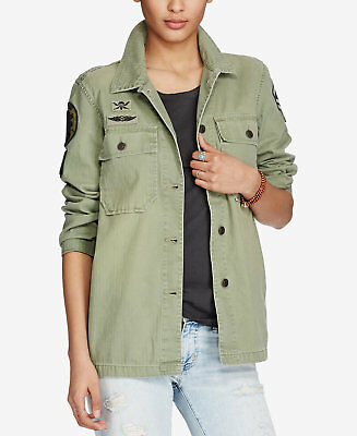 Denim /& Supply Ralph Lauren Women Beaded Military Army Field Jacket Olive S M L