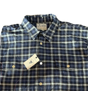 Lucky Brand Men's Blue Plaid Long Sleeve XL Front Pockets Shirt NEW MSRP $69.50