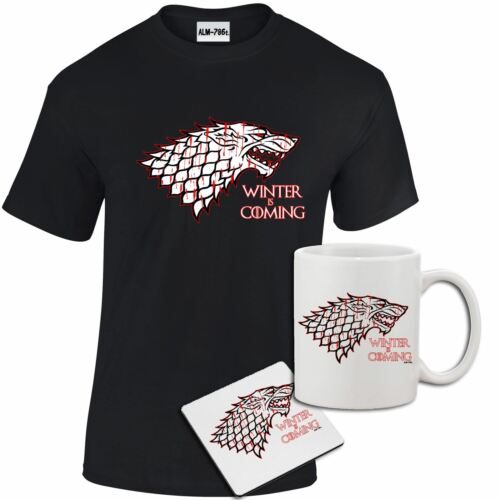 Mens Winter is Coming Game of Thrones Inspired T shirt Coaster Gift Set Mug