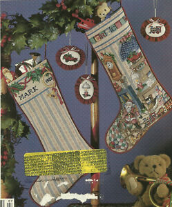 Christmas-Stockings-Cross-Stitch-Patterns-from-magazine-2-designs-Holly-amp-Study