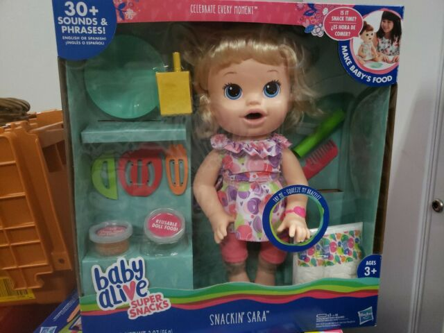 Blonde Baby Doll That Eats With Re Baby Alive Super Snacks Snackin' Lily Baby