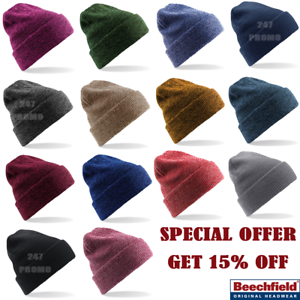 9e72cef67b9 Image is loading Beechfield-BEANIE-HAT-WINTER-WARM-SOFT-KNITTED-VINTAGE-