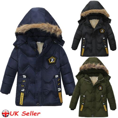 Boys Kids Winter Coat Hooded Warm Cotton Fur Padded Parka Jacket Outerwear 2-6Y