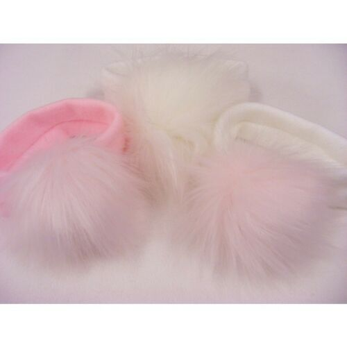 Kinder Baby /& Girls Spanish Style Knitted Headband Faux Fur Pom Pom