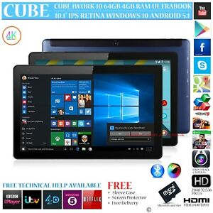 Details about CUBE iWORK 10 64GB WITH 4G LTE MODEM DUAL OS WINDOWS 10  ANDROID 5 1 TABLET PC