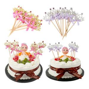 Astounding 10X Crown Birthday Cake Toppers Cupcake Glittering Decor Wedding Funny Birthday Cards Online Elaedamsfinfo