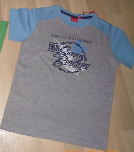 Manguun T-shirt Gr.122-128 Neu Mit Etikett Blau -grau