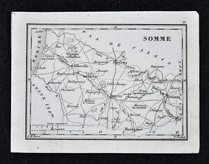 1833-Perrot-Map-Somme-Amiens-Abbeville-Peronne-Doulens-Montdidier-France