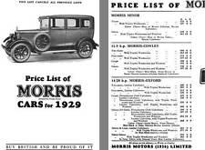 Morris 1929 - Price List of Morris Cars for 1929