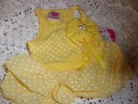 Sunshine Yellow Dot Dress Xxs Moochie Pooch Puppy Dog Pet Clothes