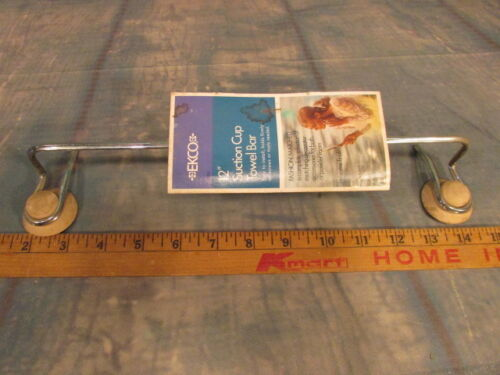 NOS vintage 12 inch suction cup towel bar EKCO Chrome with tags