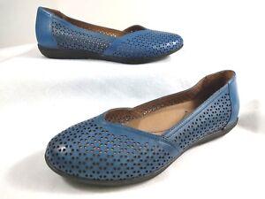 31548564c5 Dansko Womens 38 US 7.5 Blue Neely Leather Ballet Flats Shoes ...