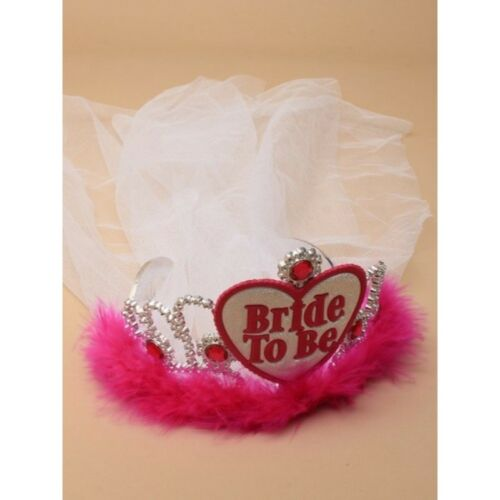 Nouvelle Bride To Be Avec Voile Blanc et Rose Feather Tiara Hen Do Fancy Dress