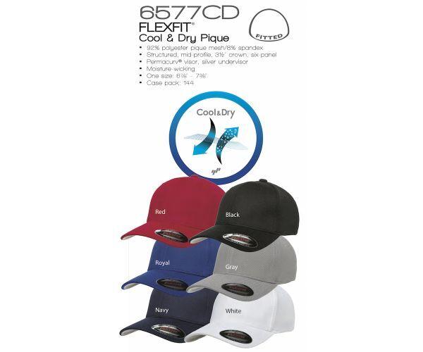 12 Custom Logo Flexfit Dry 6577CD Cool & Dry Flexfit  Piqué Mesh Cap Hats   ea fd39ec