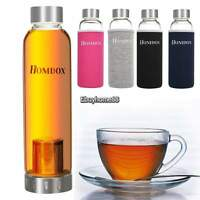 550ml Sports Portable Glass Water Bottle Drinking Lid Cup Mug Clear W/cover Usa