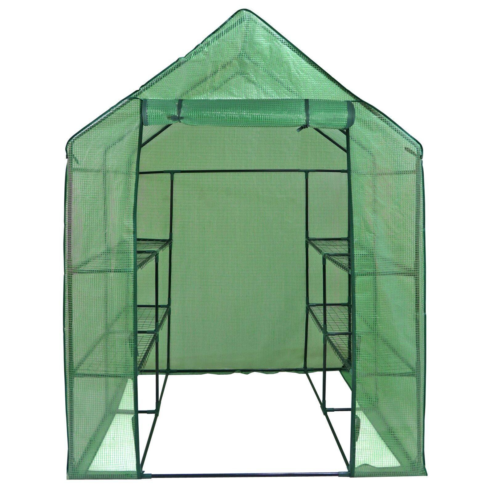 Mini 8 Shelves  3 Tiers Walk In Door Outdoor Green House for Planter Portable Garden Structures & Shade