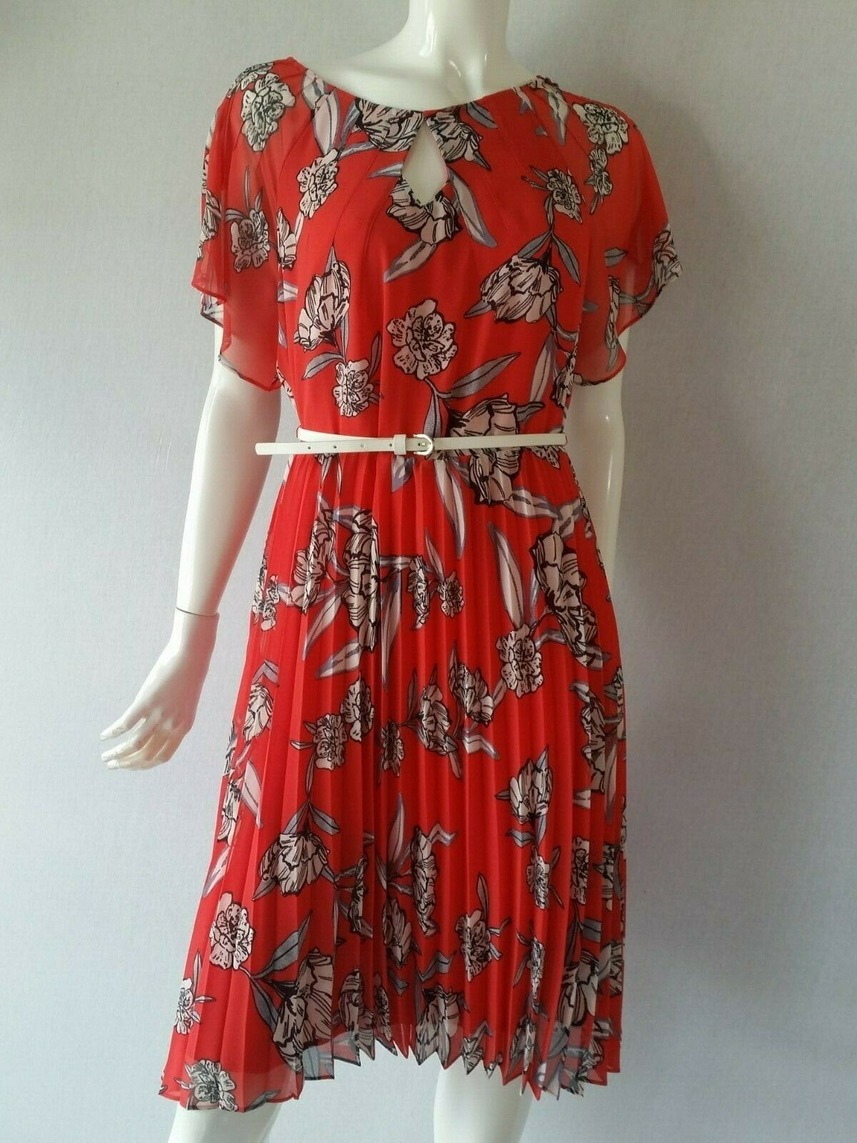 COMMA Kleid Plissee rot gemustert mit Gürtel Gr.38 40NEU