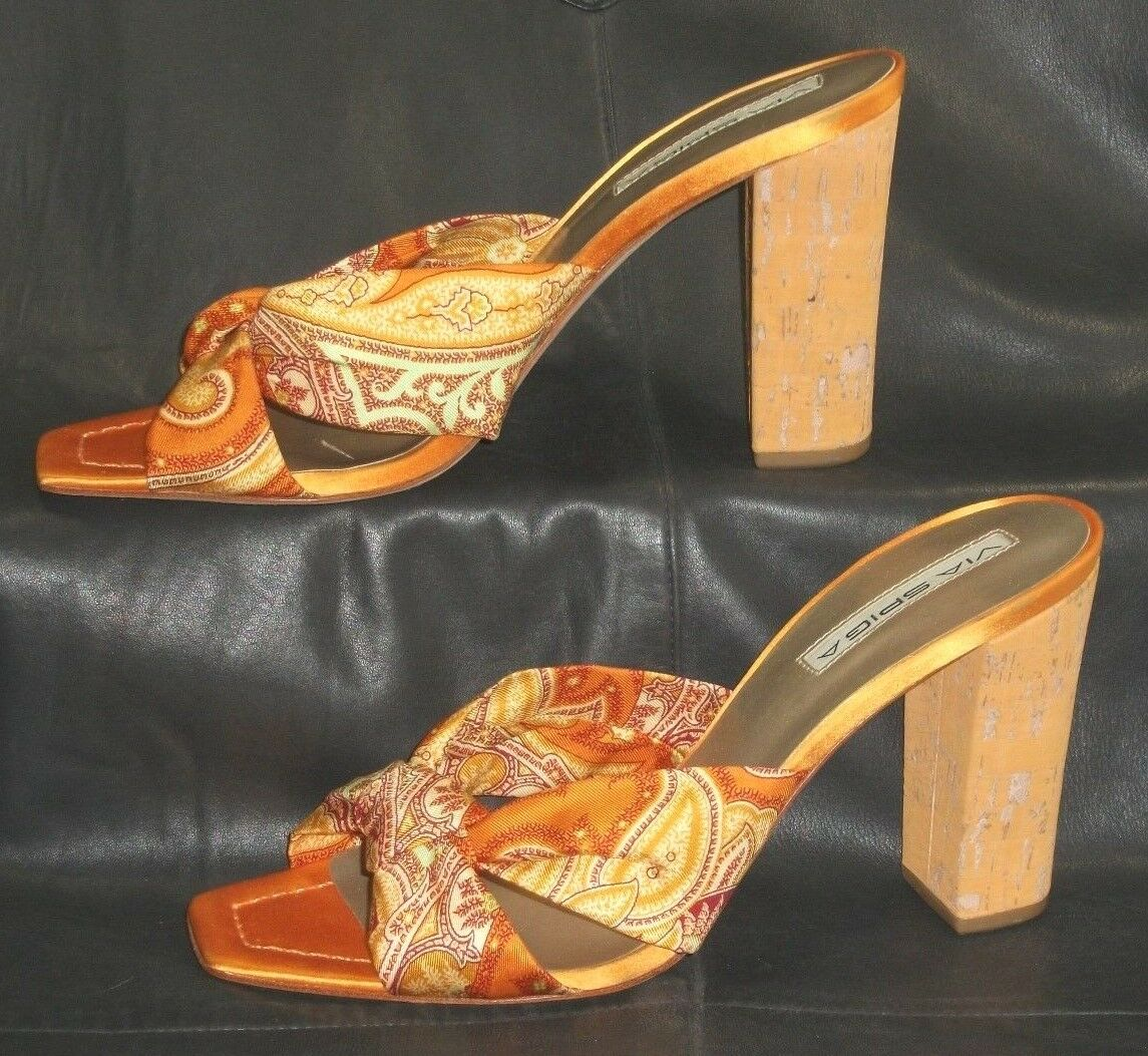 Via Spiga multi - orange fabric open toe size mules sandals Womens heels size toe 8 1/2 M f08b6d