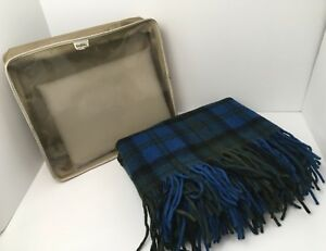 Vintage-Pendleton-Stadium-Blanket-52x64-Blue-Plaid-Black-Green