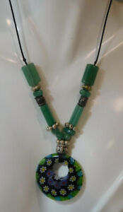 Millefiori-Glass-Pendant-Jade-Green-Bead-20-034-Black-Cord-Necklace-7L-42