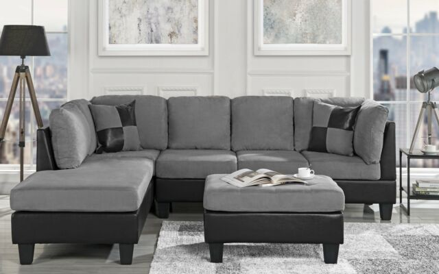 Sensational 3 Pc Living Room Set Microfiber Faux Leather Sectional Sofa Reversible Grey Alphanode Cool Chair Designs And Ideas Alphanodeonline