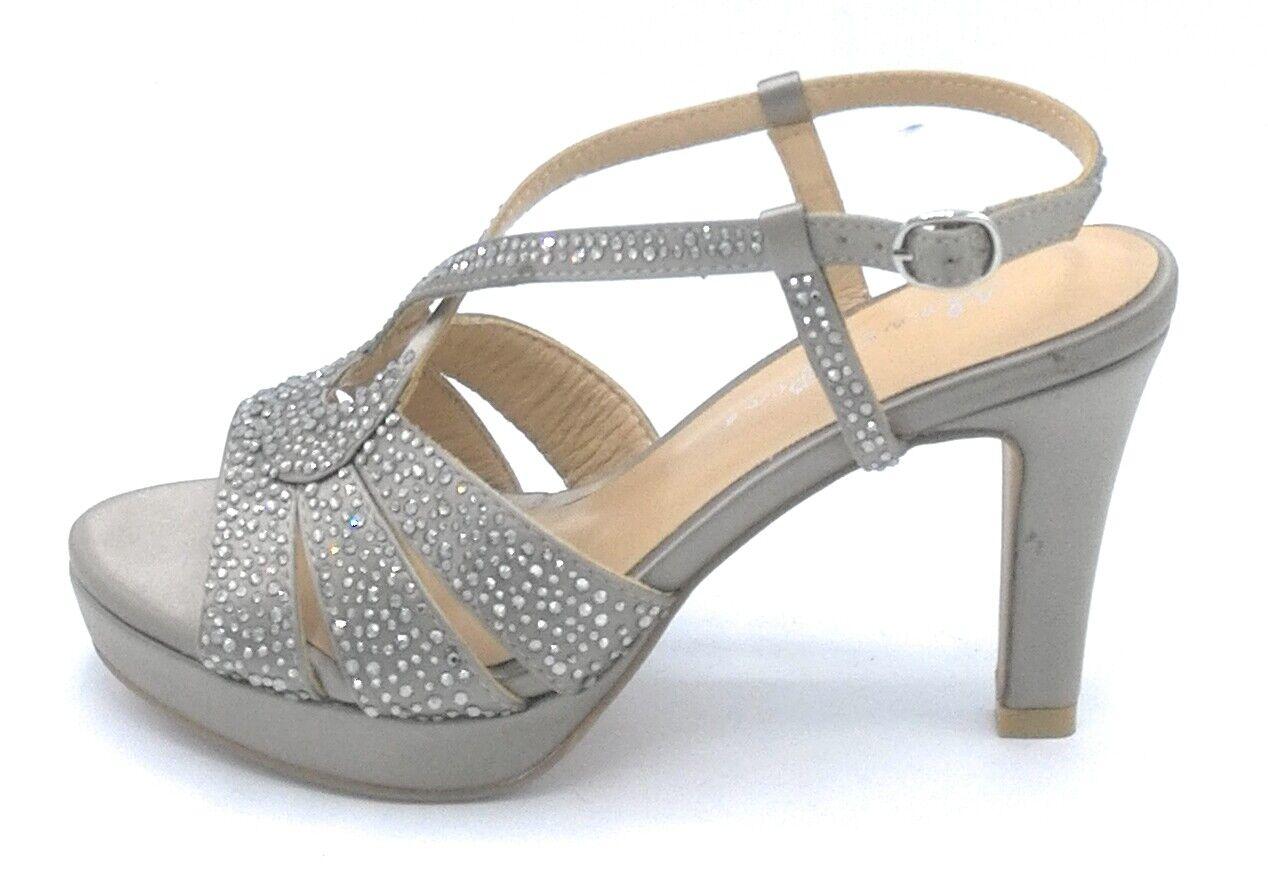 Alma en Pena V19363 Sandale Plateforme Satin Champagne Bracelet Strass Talon 9cm