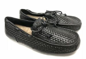 18e9d38ce5f Details about UGG Australia Men's Chester Woven Leather Slippers 1007887  Black Loafers Size 8