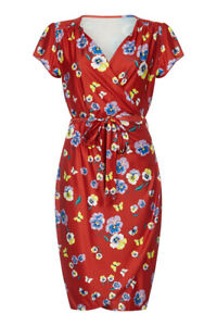 Yumi-Curves-Women-039-s-Red-Pansy-Print-Wrap-Dress-Size-24-New-With-Tags