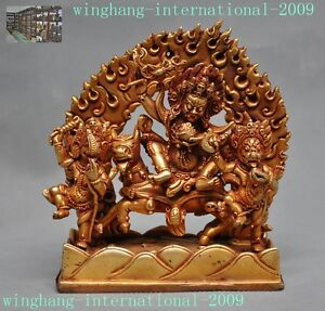 "4""tibet Buddhism Bronze 24k Gold Gilt Dorje Vajra Phurpa Mahakala Buddha Statue Tibet Antiques"