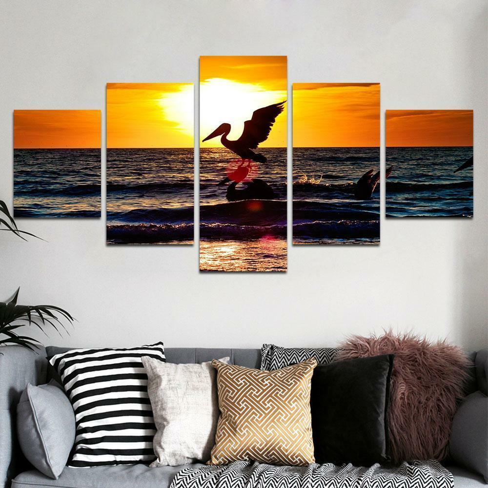 Pelican Sunset Beach Wave 5 panel canvas Wall Art Home Decor Poster Print