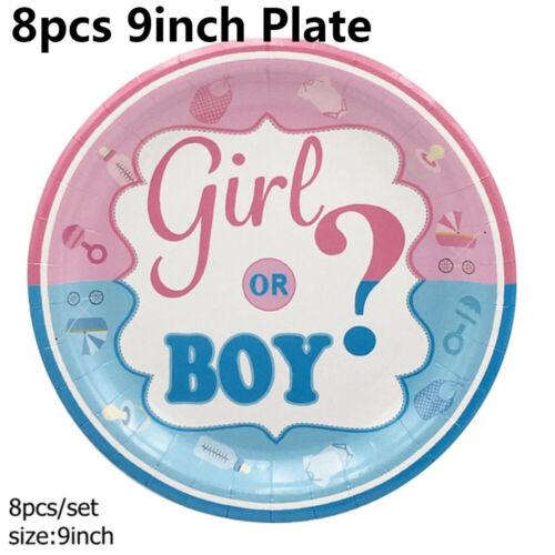 Kids Favoriten Mädchen oder Junge Geschirr Dekor Gender Reveal Banner Tafeltuch