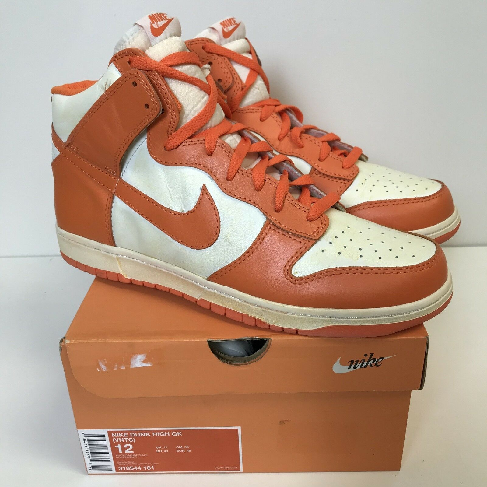 Nike 2007 Dunk High QK VNTG (Vintage) White orange Blaze sb New 318544-181 US 12