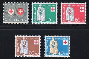 Switzerland-1957-MNH-Mi-641-645-Sc-B262-B266-Red-Cross-amp-Charity