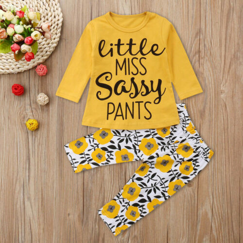 2PCS AB Infant Baby Boy Girl Long Sleeve Letter Tops+Floral Pants Outfit BC