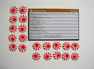 #50 Axe Et Alliés Printemps 1942: Le Japon Set-up Board Et Contrôle National Marqueurs-afficher Le Titre D'origine