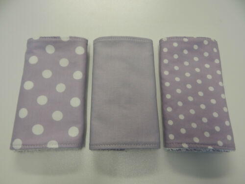 Burp Cloths Lilac Spots 3 Pack Toweling Back FREE POST Beautiful Gift