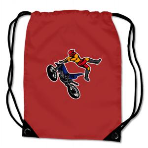 Turnbeutel Motocross Jump Sportbeutel für Schule Sport  8 Farben 45 x 34 cm