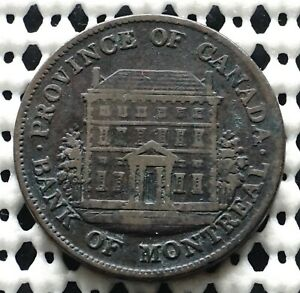 Province of Canada Half Penny Bank Of Montreal Token  ♛ 1844 ♛ Breton #527