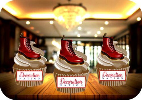 Dr Martens Bottes Rouge Cerise 12 comestibles Standup gâteau Toppers Décoration Anniversaire