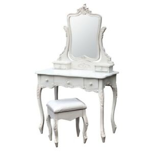 ANTIQUE-SHABBY-CHIC-WHITE-DRESSING-TABLE-WITH-MIRROR-amp-STOOL-SET-J2127-WH