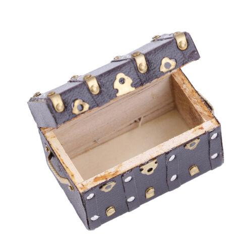 Treasure chest vintage leather case wooden miniature dollhouse accessory