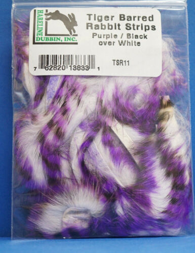 Tiger Barred Rabbit Hareline tsr11 Black Barred Purple-Black over White