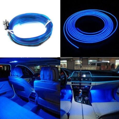 1Set Universal Car Interior LED Decorative Wire Strip Atmosphere Cold Blue Light