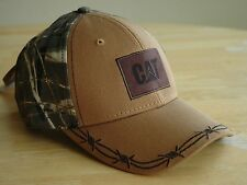 Caterpillar Tan & Camo CAT Hat Cap with Cool Barbed Wire Detail on Brim