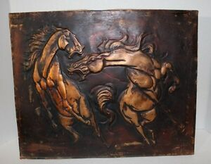EMBOSSED-COPPER-PLATE-SHEET-MAJESTIC-HORSES-BARN-ART-UNSIGNED-with-PATINA-OOAK